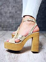 Женские кожаные босоножки Risk на высоком каблуке