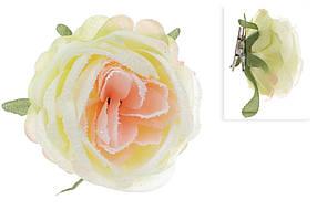 Декоративный цветок Роза на клипсе, кремовый в снегу, в упаковке 33 шт. 758-332