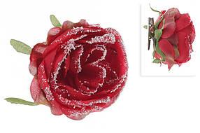 Декоративный цветок Роза на клипсе, красный в снегу, в упаковке 33 шт. 758-333