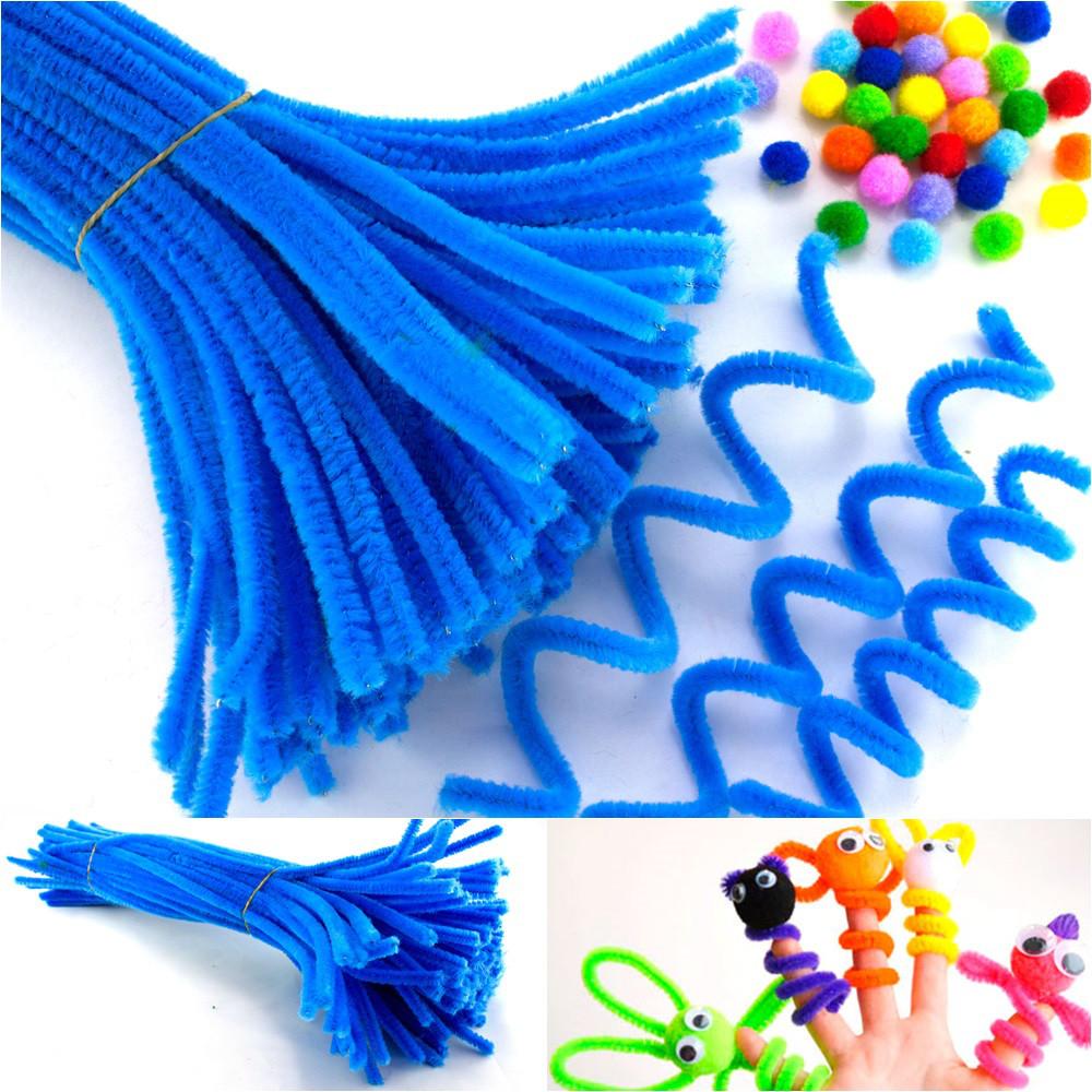(100шт) Синельная проволока (синель пушистая) длина 30 см, d=5 мм, цена за 100шт Цвет - Лазурный