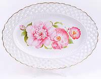 Блюдо фарфоровое овальное Китайская роза 30см 222-182