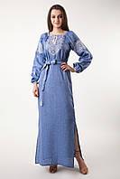 Длинное платье с вышивкой, лен джинс, фото 1