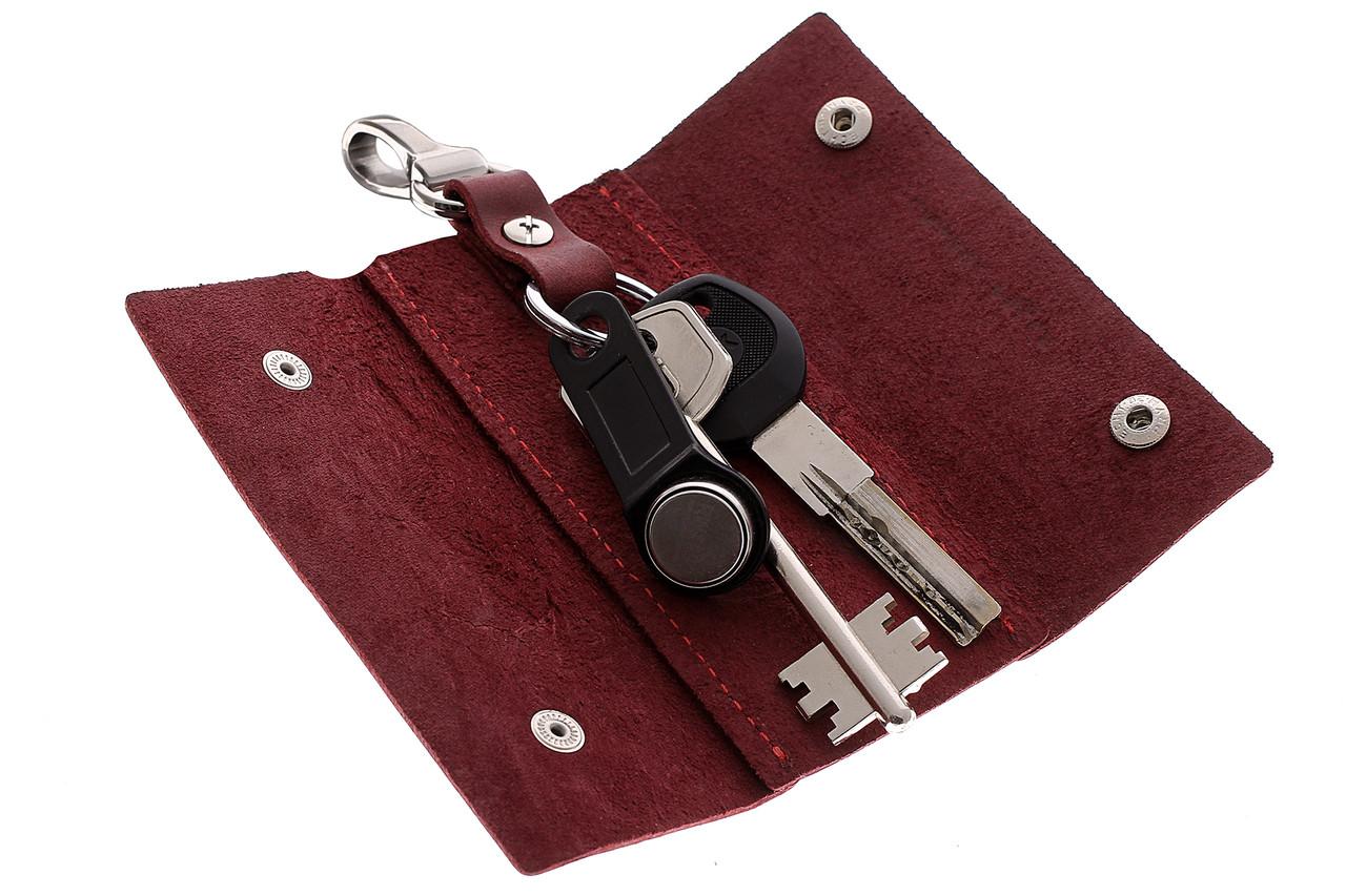 Ключница на кнопках, матовая кожа, бордо