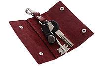 Ключница на кнопках, матовая кожа, бордо, фото 1