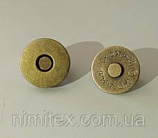 Кнопка магнит 18 мм антик