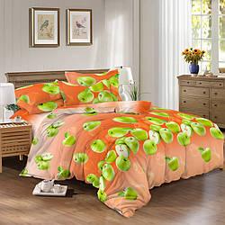 Семейный комплект постельного белья 150*220 из сатина Зеленое яблоко