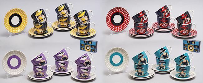 Кофейный набор фарфоровый 12 пр.: 6 чашек 180мл + 6 блюдец Дама в шляпе, 4 вида 539-035