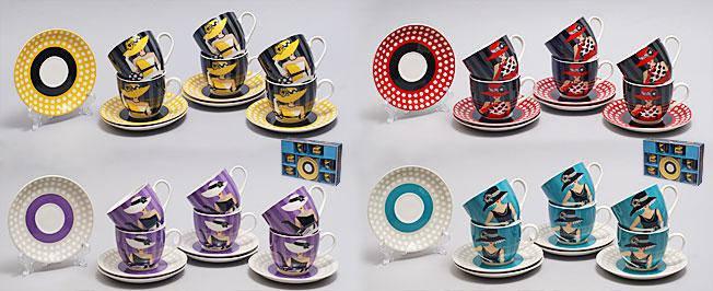 Кофейный набор фарфоровый 12 пр.: 6 чашек 180мл + 6 блюдец Дама в шляпе, 4 вида 539-035, фото 2