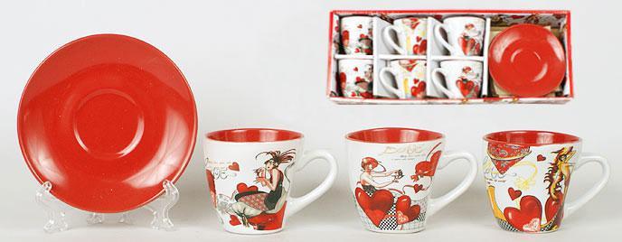 Набор кофейный: 6 чашек керамических 120мл с блюдцами FN41