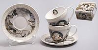 Чайный набор: 2 чашки 280мл с блюдцами Камея 245-S13
