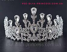 Корона, диадема, тиара под серебро с камнями, высота 8,5 см.
