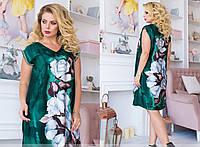 Зеленое платье большого размера стильное 50-60