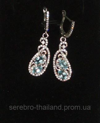 Серебряные серьги 925 пробы с натуральным небесно-голубым топазом
