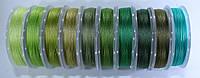 Нить для бисера TYTAN 100. Микс зелено-оливковый  (10 цветов)