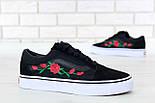 Кеды Vans Old Skool black/white Roses. Живое фото! (Реплика ААА+), фото 2