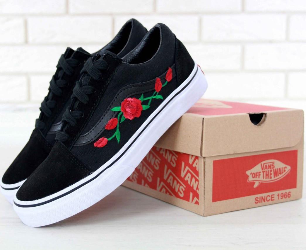Кеды Vans Old Skool black/white Roses. Живое фото! (Реплика ААА+)