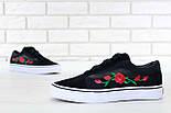 Кеды Vans Old Skool black/white Roses. Живое фото! (Реплика ААА+), фото 4