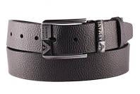 Ремень кожаный мужской Armani черный с классической пряжкой