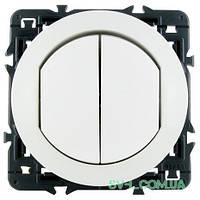 Влагозащищенный двухклавишный выключатель-переключатель Celiane (белый) 067001*2+067802+080251