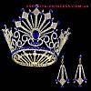 Круглая корона с серьгами под золото с синими камнями, диадема, тиара, высота 12 см.