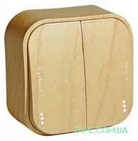 Выключатель двухклавишный с подсветкой 10А Quteo (Дерево) 782262+772257
