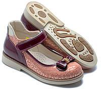 Коралловые кожаные, ортопедические туфли FS Сollection для девочки, размер 35