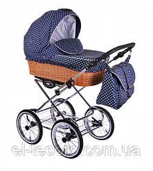 Детская универсальная коляска Classic Retro  R-13 (синий в горошек)