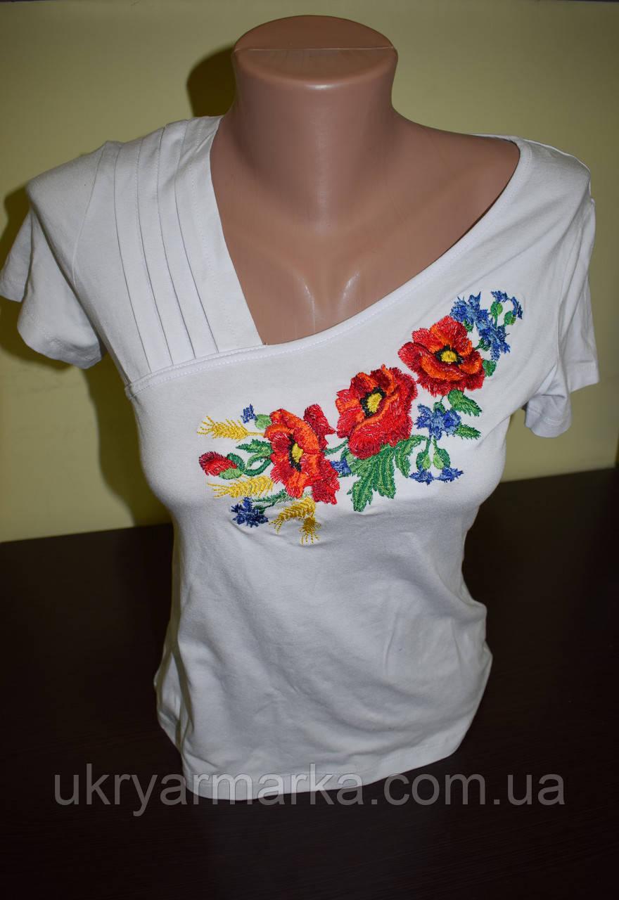 """Жіноча вишита футболка """"Асиметрія"""" біла"""