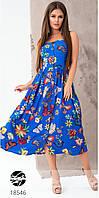 Женский сарафан синего цвета с цветочным принтом. Модель 18546. Размеры 42,44, фото 1