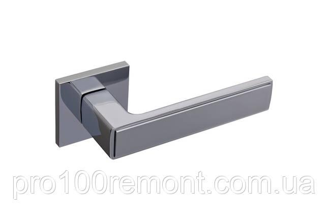 Ручка дверная на розетке GAVROCHE NIKEL хром / белая эмаль, фото 2