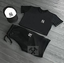 Мужской комплект футболка + шорты + кепка NY (люкс копия)