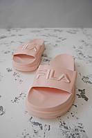 Женские шлепанцы\сланцы Fila Slippers Pink #1 (Реплика AAA+)