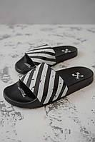 Мужские шлепанцы\сланцы Nike x Off White Black/White (Реплика AAA+)