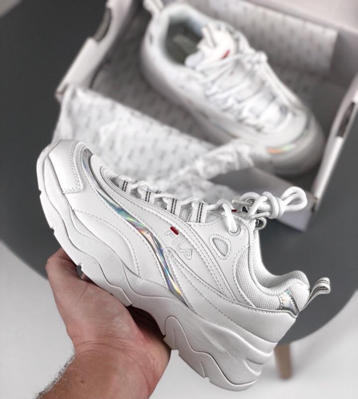 Женские кроссовки Fila Reflector White. Живое фото (Люкс реплика ААА+)