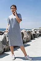 """Летнее платье свободного кроя """"ADIO"""" с карманами и вырезом на спине (большие размеры)"""