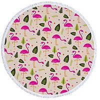 Пляжний Килимок Фламінго ілисточки (циновка для пляжу + парео) / Пляжный Коврик Фламинго и листья
