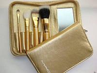 Набор кистей для макияжа МАС ( реплика) 4 кисти в золотом чехле с зеркалом