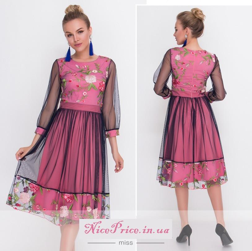 Нежное платье сетка с вышивкой 42 44,46,48