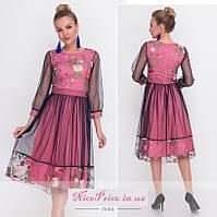 Нежное платье сетка с вышивкой 42 44,46,48, фото 1