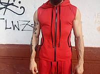 Майка жилетка мужская с капюшоном и шнурками. Купить Украина