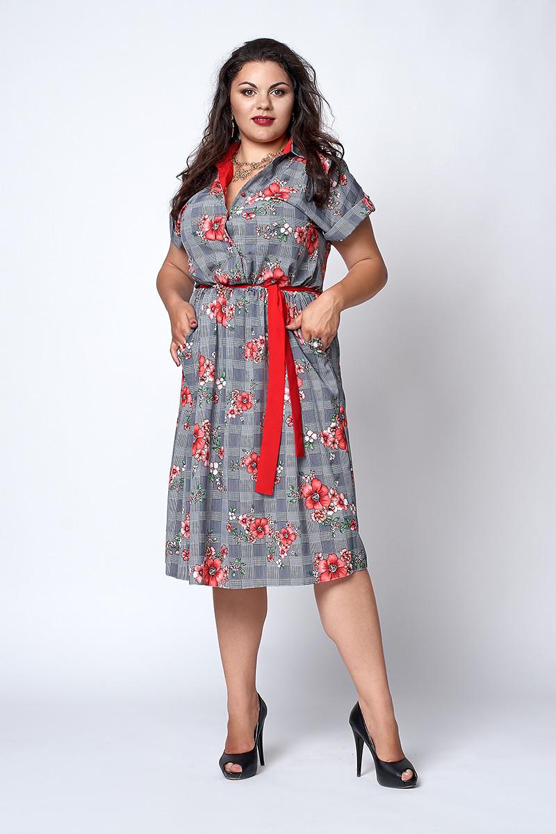 Платье-рубашка в клетку с поясом, красная ромашка