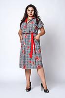 Модное женское платье-рубашка в клетку с поясом, красная ромашка