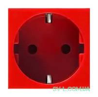 Механизм электрической розетки Legrand Mosaic c заземлением 2 модуля (красный) 077218