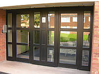 Входная металлопластиковая дверь Rehau из цветного профиля. Цвет стандарт, фото 1
