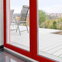 Входная металлопластиковая дверь Rehau из цветного профиля. Цвет нестандарт