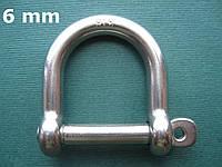 Нержавеющая скоба такелажная широкая, 6 мм
