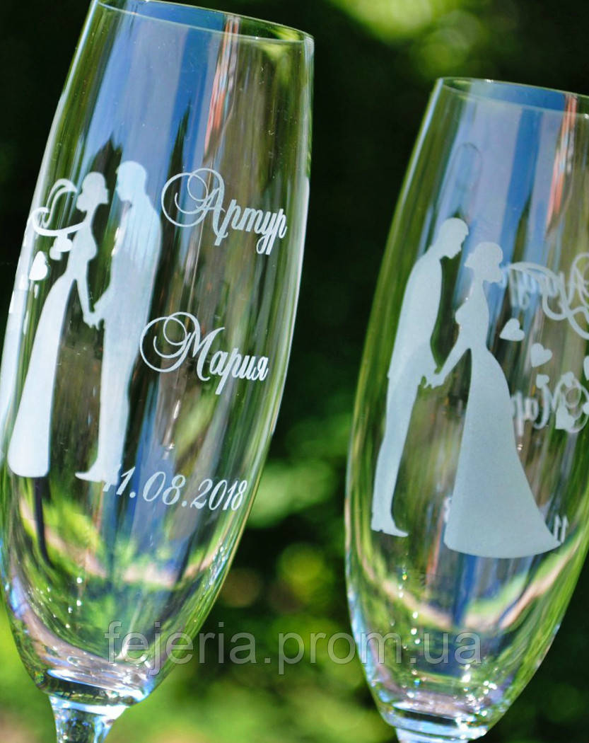 Свадебные бокалы Bohemia гравировка двустороняя