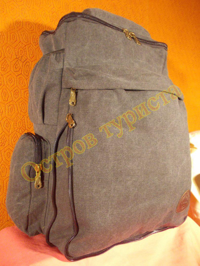 Рюкзак городской спортивный JinLingDi 709 темно-серый 45 литров брезент