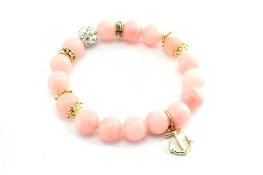 Браслет из натуральных камней розовый с якорем