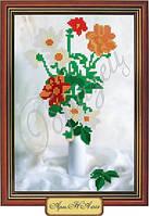 Схема для вышивки бисером «Маки и ромашки в вазе»